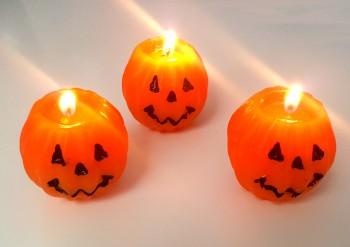 3er Set Halloween Mini Kürbis-Kerzen