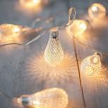 10 LED Metalltropfen Lichterkette, warmweiss, 1,35m Länge, benötigt 2xAA-Batterien